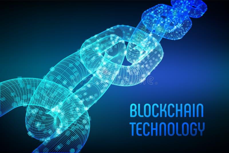 块式链 隐藏货币 Blockchain概念 3D与数字式块的wireframe链子 编辑可能的Cryptocurrency模板 股票 向量例证