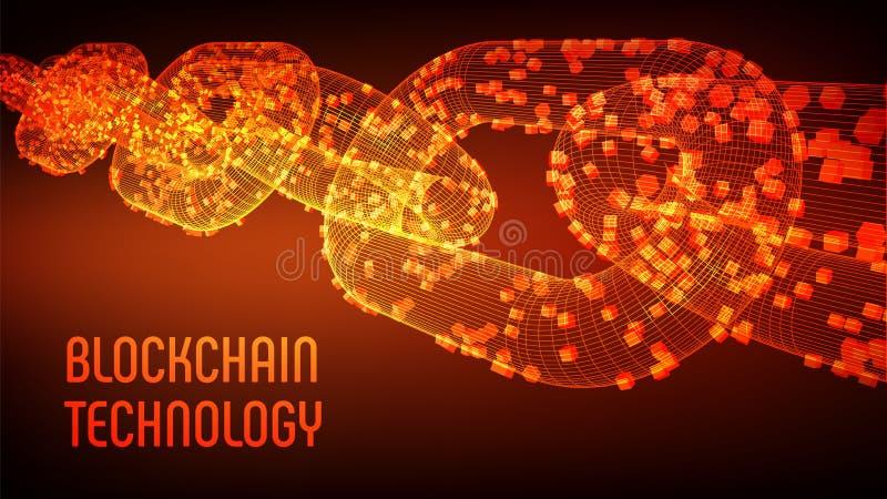 块式链 隐藏货币 Blockchain概念 3D与数字式块的wireframe链子 编辑可能的cryptocurrency 向量例证