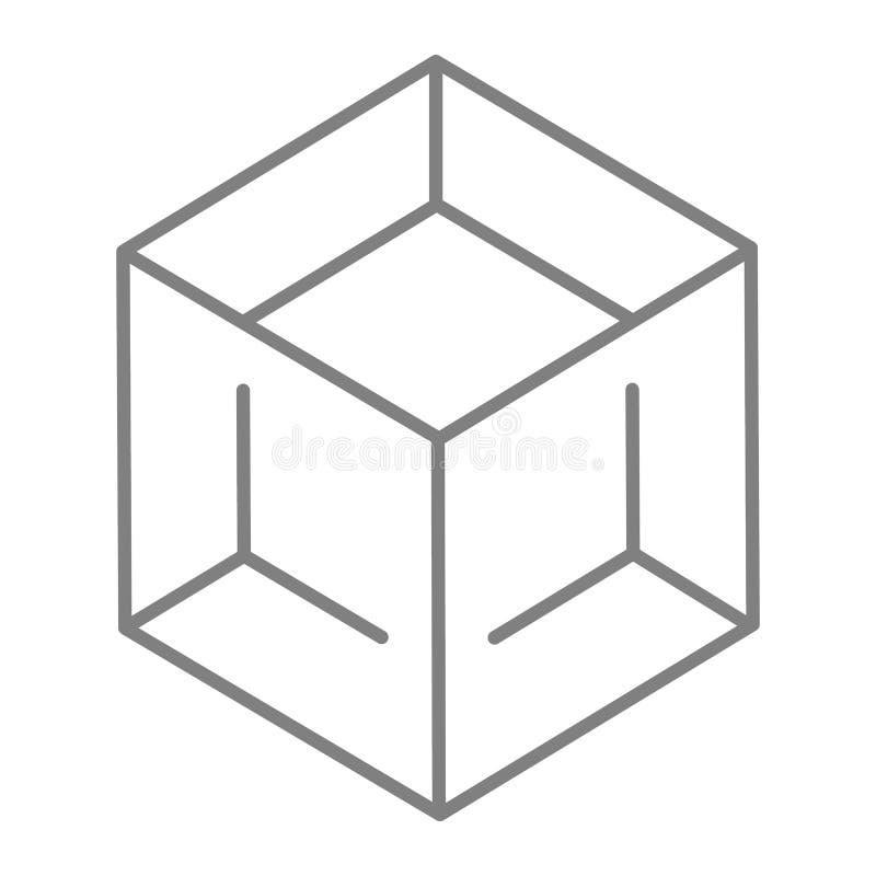块稀薄的线象 立方体在白色隔绝的传染媒介例证 箱子概述样式设计,设计为网和app 向量例证