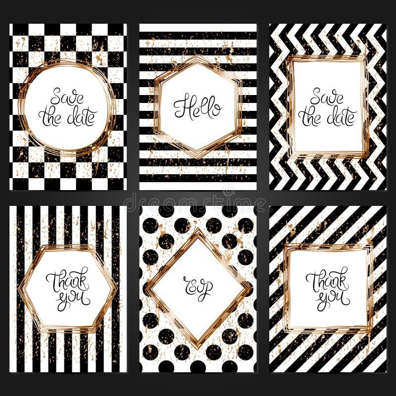 6块葡萄酒卡片模板的汇集在黑白颜色的 皇族释放例证