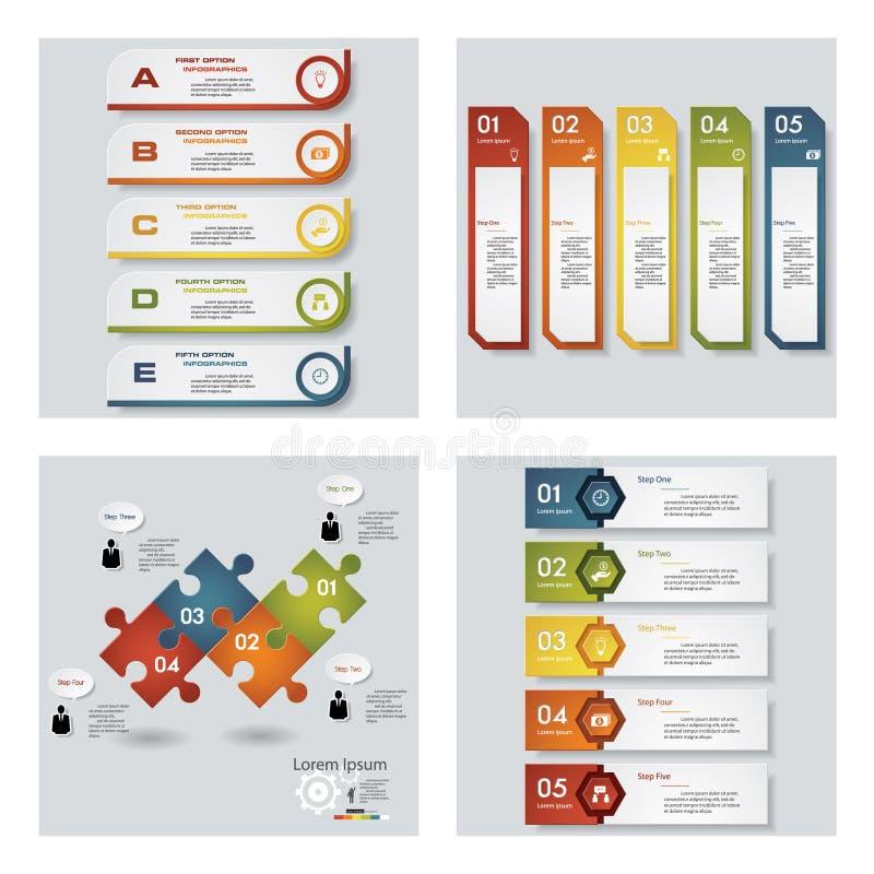4块设计五颜六色的介绍模板的汇集 向量背景 皇族释放例证