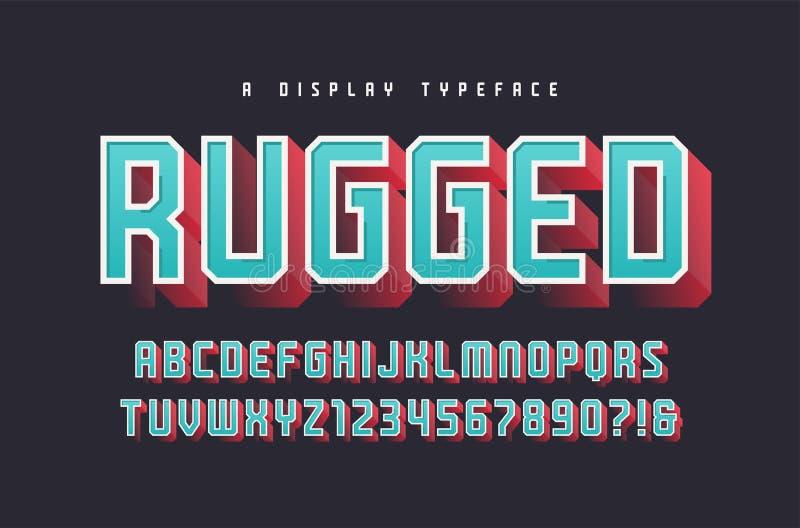 坚固性传染媒介时髦的3d显示字体,字体,大写lette 向量例证