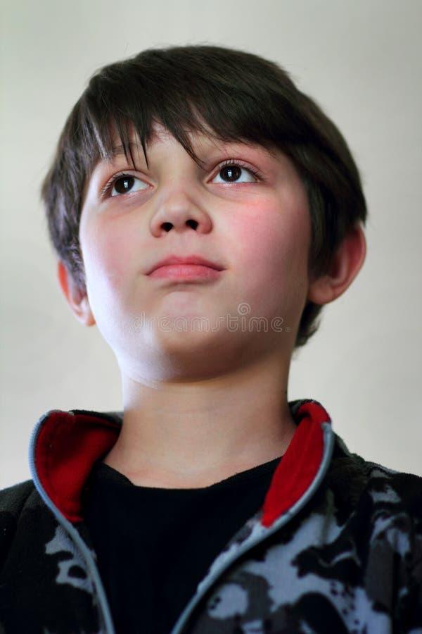 坚定的年轻深色头发的男孩 库存图片