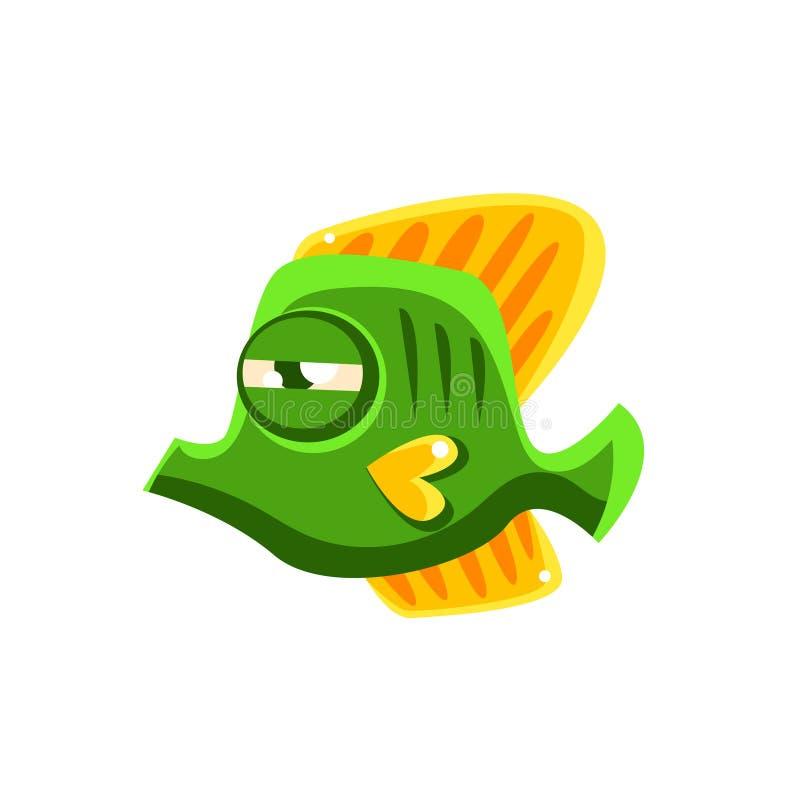 坚定的绿色意想不到的水族馆热带蝴蝶鱼漫画人物 向量例证