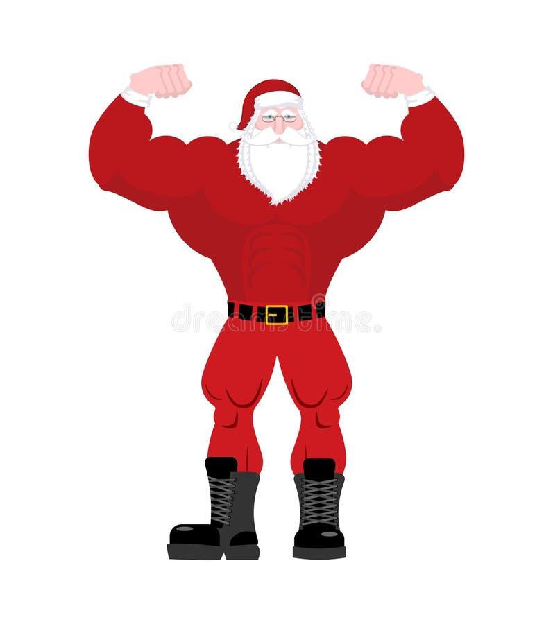 坚强的圣诞老人 有大肌肉的强有力的老人 健身C 库存例证
