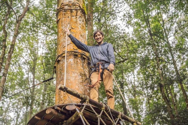坚强的年轻人在木背景的一个绳索公园 免版税库存图片