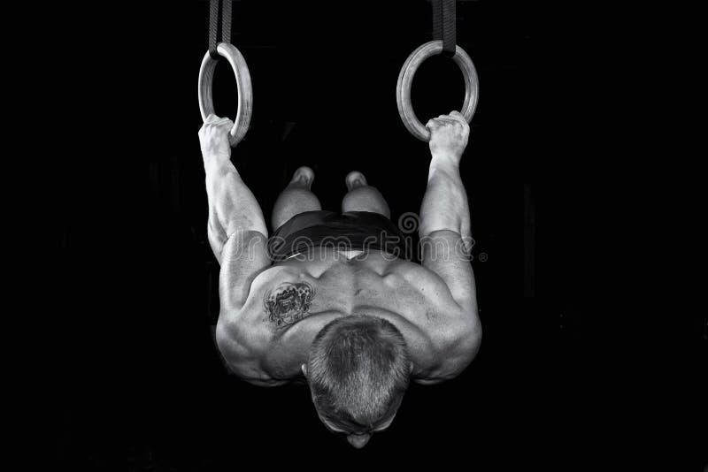 坚强的性感的体操运动员在环形工作 免版税图库摄影