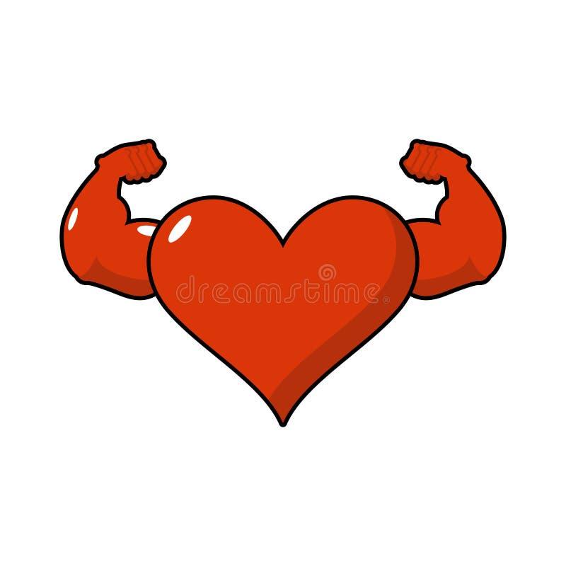 坚强的爱运动员 运动员的强有力的心脏 一臂之力bodybu 库存例证