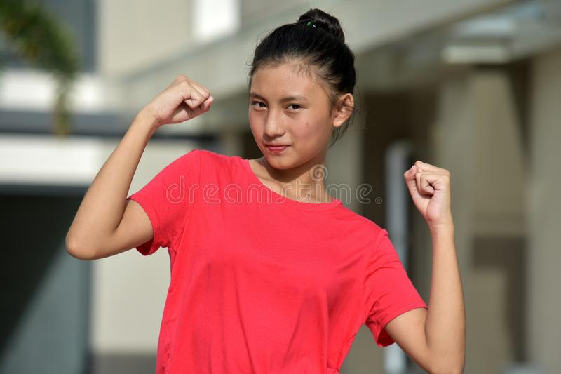 坚强的青少年的女孩 图库摄影