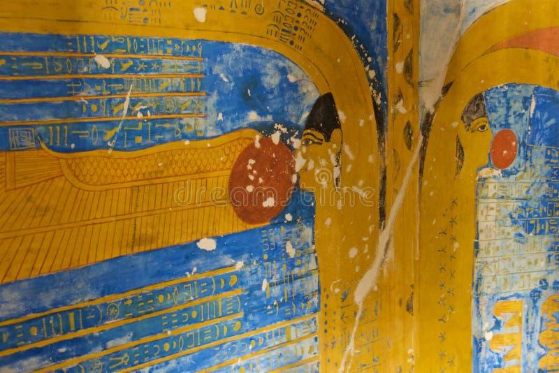 坚果的埃及女神绘画在国王谷的在卢克索,埃及 免版税库存图片