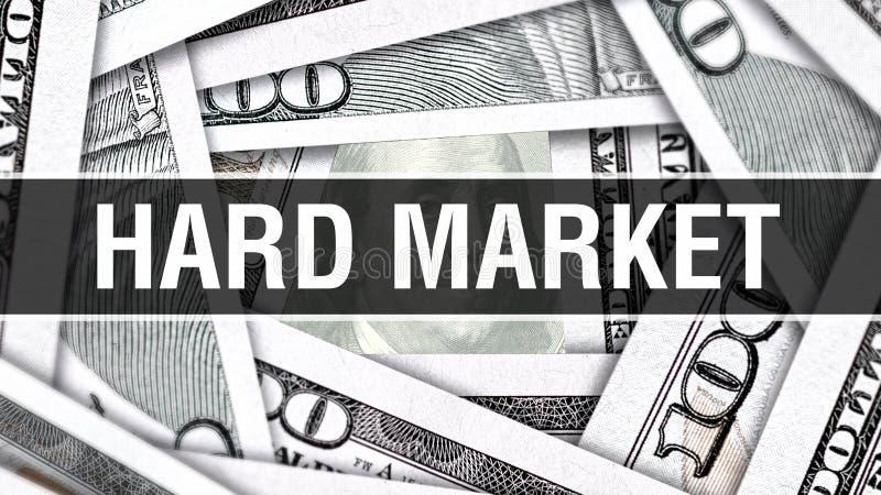 坚硬市场特写镜头概念 美国美元现金金钱, 3D翻译 在美元钞票的坚硬市场 财政美国金钱banknot 库存例证
