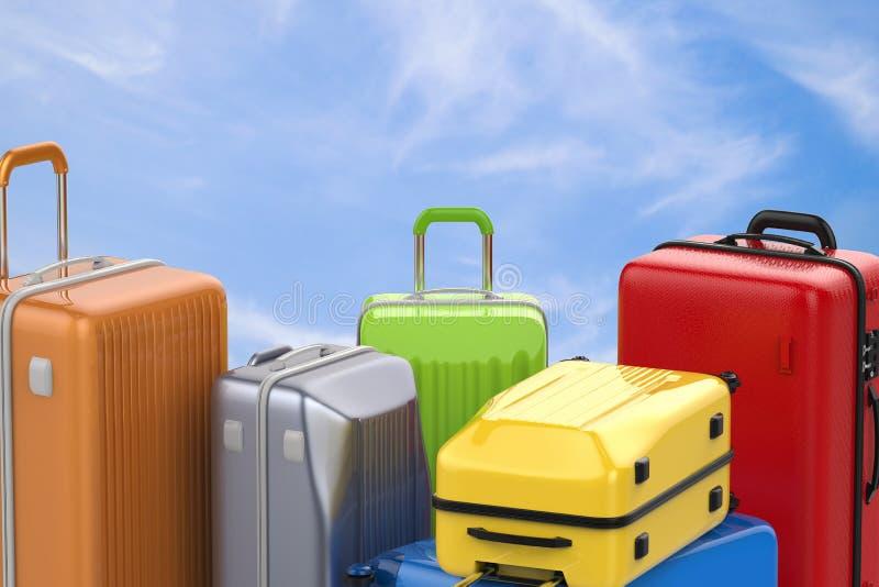 坚硬案件五颜六色的行李 库存例证