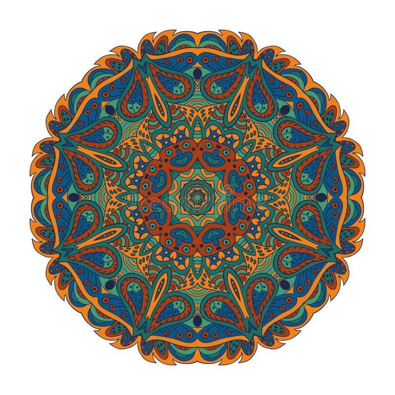 坛场东部样式 Zentangl圆的装饰品 库存例证