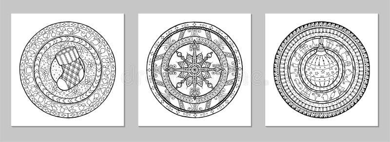 坛场传染媒介乱画纹身花刺 任何的完善的元素设计、生日和其他假日,万花筒,大奖章, 库存例证