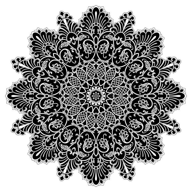 坛场几何圈子元素,黑 库存例证