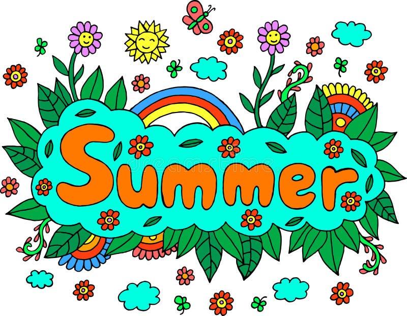 坛场和夏天词 在五颜六色的艺术品上写字的乱画 Vect 库存例证