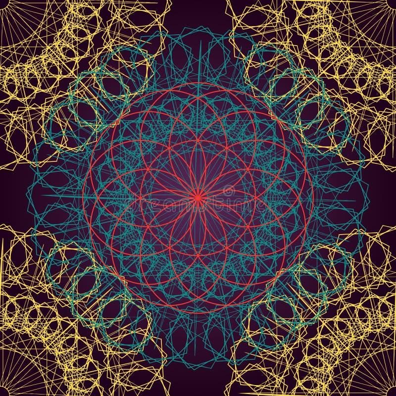 坛场无缝的古老几何样式 花线艺术的金黄圆的装饰品装饰与风格化查克拉标志的为 向量例证