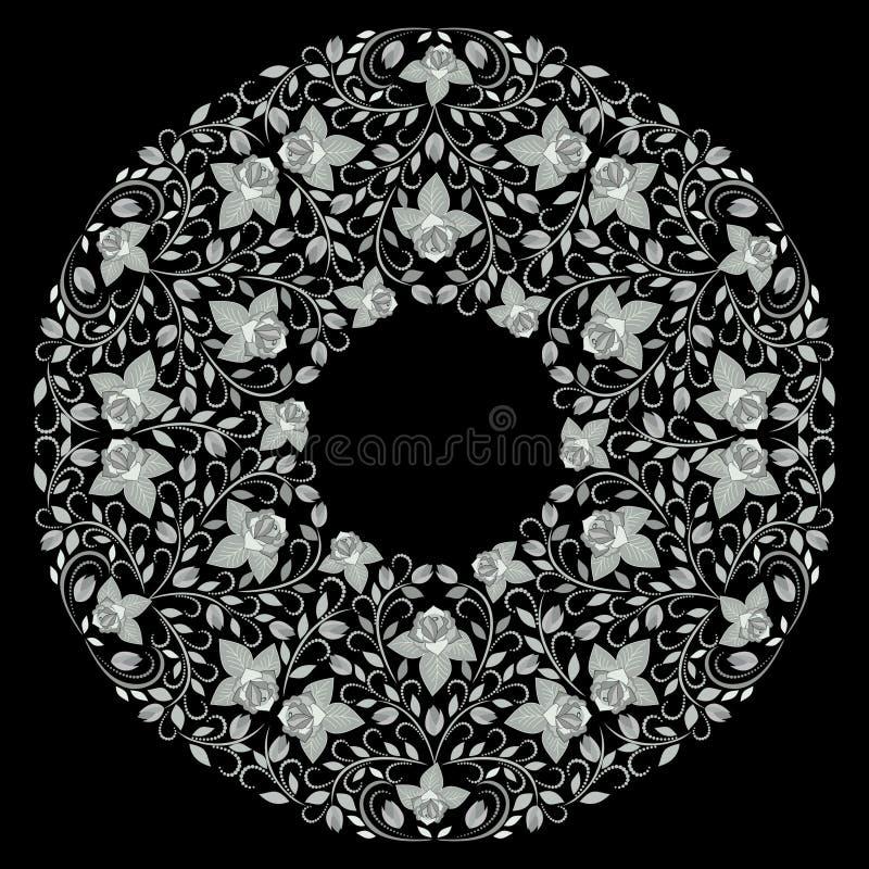 坛场玫瑰设计,黑白装饰漂泊圆的样式 库存例证