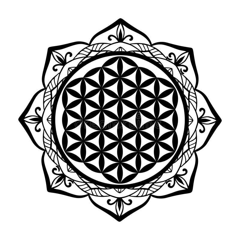 坛场生活纹身花刺或钢板蜡纸模板,神圣的几何标志方术,灵性,宗教,哲学, a框架和花  皇族释放例证