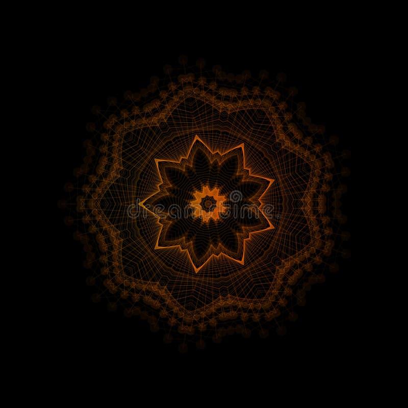 坛场,东方传染媒介装饰品 抽象线性花 印地安人,种族圆的得出的样式 传染媒介圆几何 库存例证