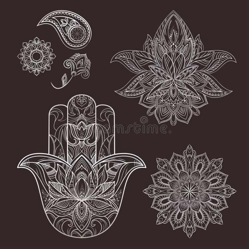 坛场,hamsa,仿照mehendi样式的花在黑背景 向量例证