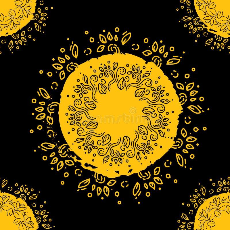 坛场 乱画叶子,花卉样式 设计的盘旋的元素 花传染媒介例证 种族无缝的样式的摘要 皇族释放例证