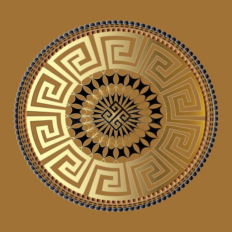 坛场 古老几何装饰品 传染媒介金子黑色河曲p 皇族释放例证