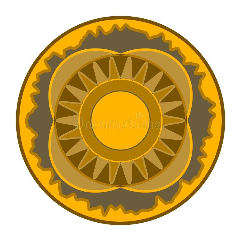 坛场-圆传染媒介样式 装饰品来回向量 您的设计的美好的圆样式在棕色口气 库存例证