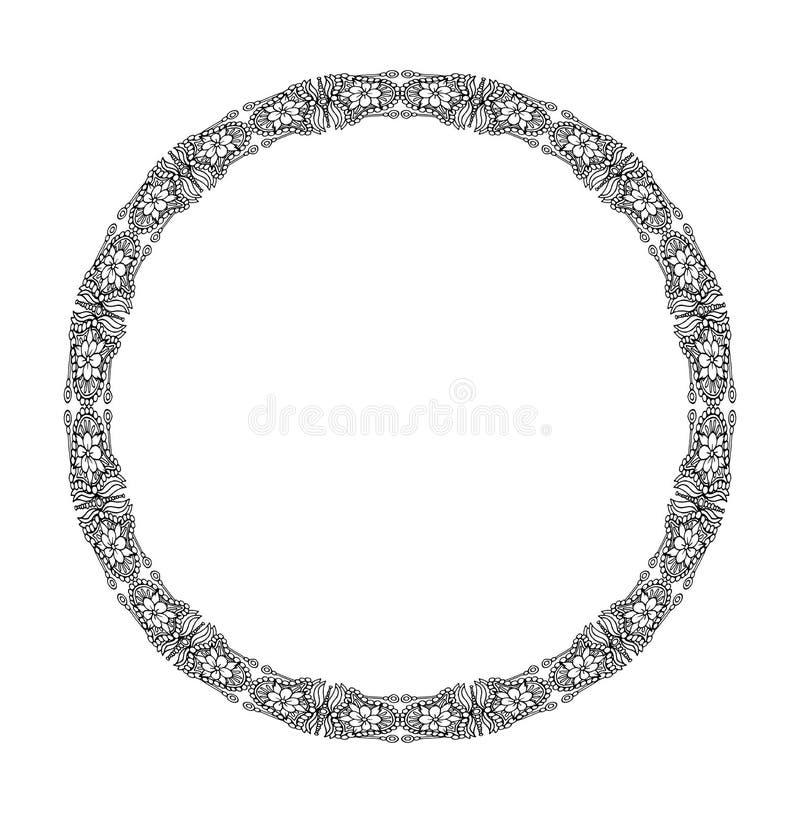 坛场 种族装饰圆的元素 手拉的有花边的被仿造的框架 皇族释放例证