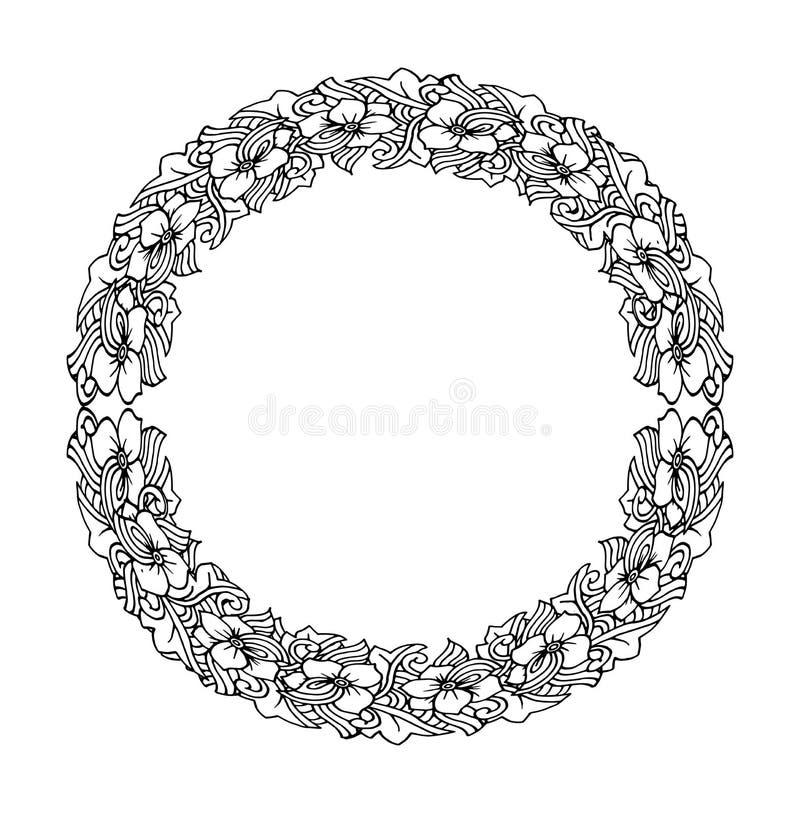 坛场 种族装饰圆的元素 手拉的有花边的被仿造的框架 库存例证