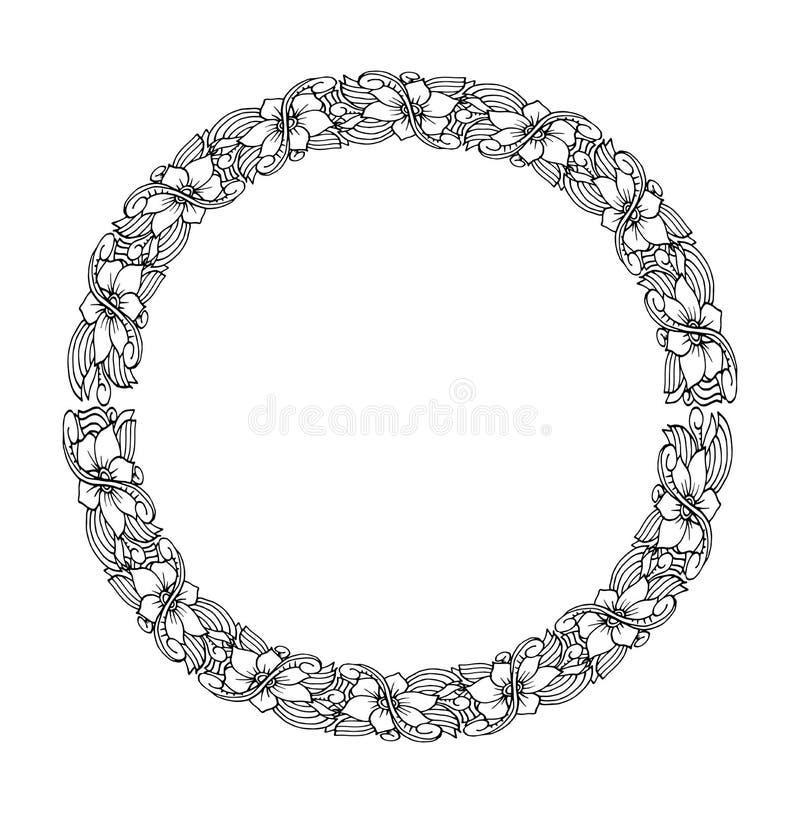 坛场 种族装饰圆的元素 手拉的有花边的被仿造的框架 向量例证
