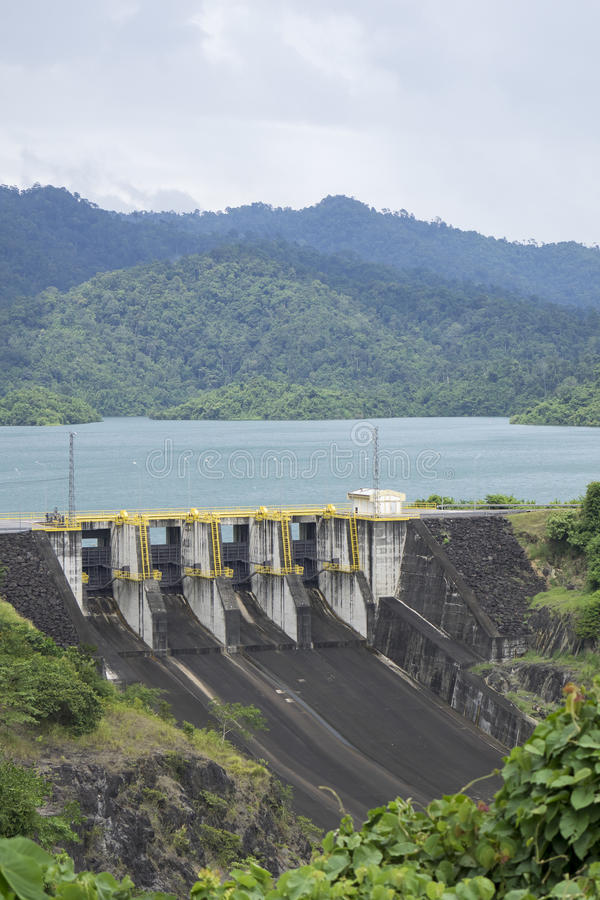 水坝充足的墙壁在绿色森林后的 库存照片