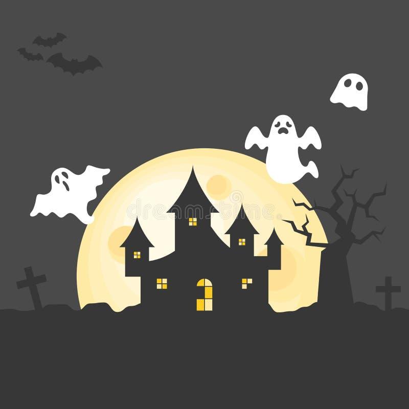 坟园的被放弃的房子有鬼的树和飞行鬼魂的在满月天 皇族释放例证