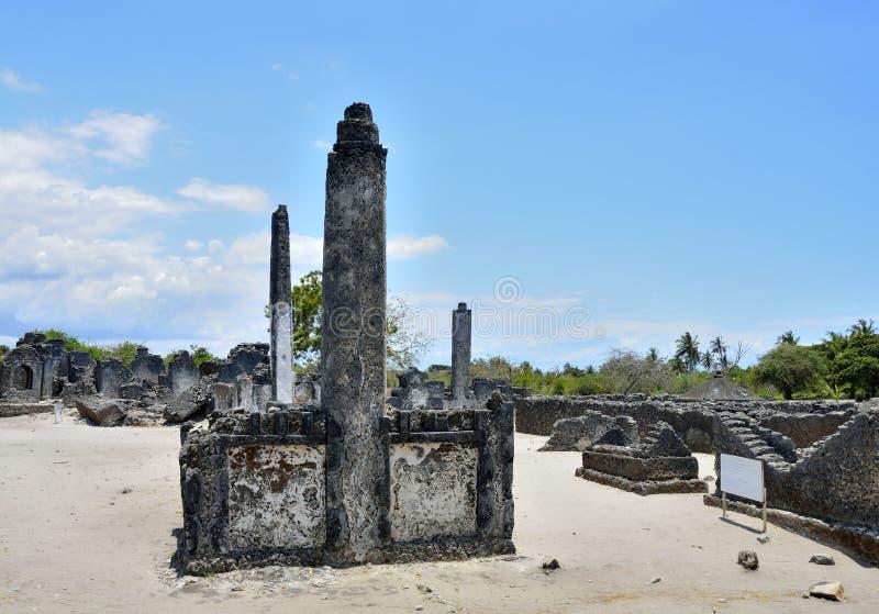 坟园, Kaole废墟,巴加莫约 库存图片