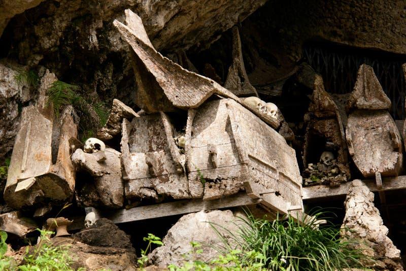 坟墓在Tana的Toraja,印度尼西亚一个村庄 免版税库存照片