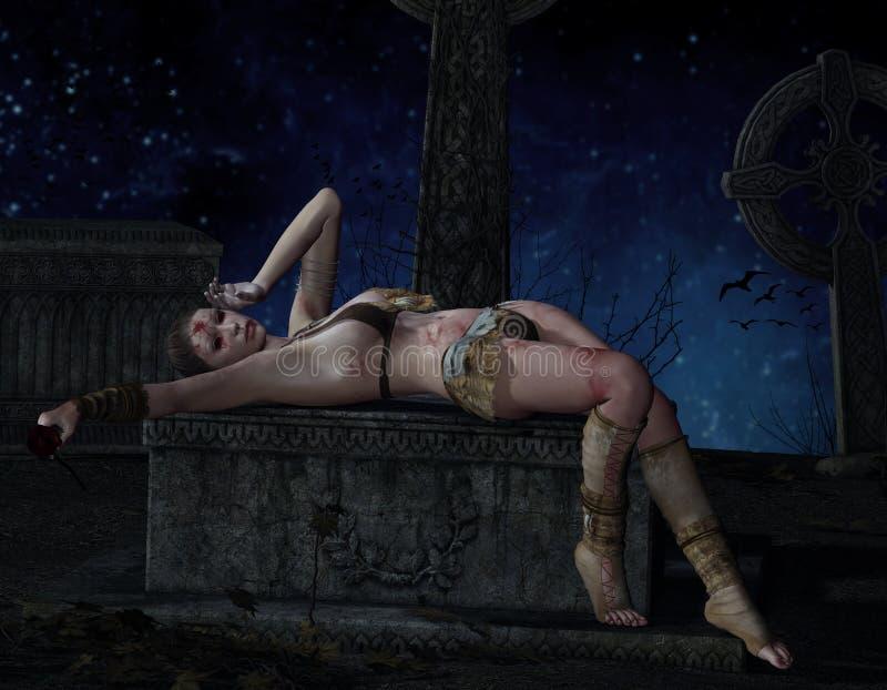 坟墓的受伤的妇女 向量例证