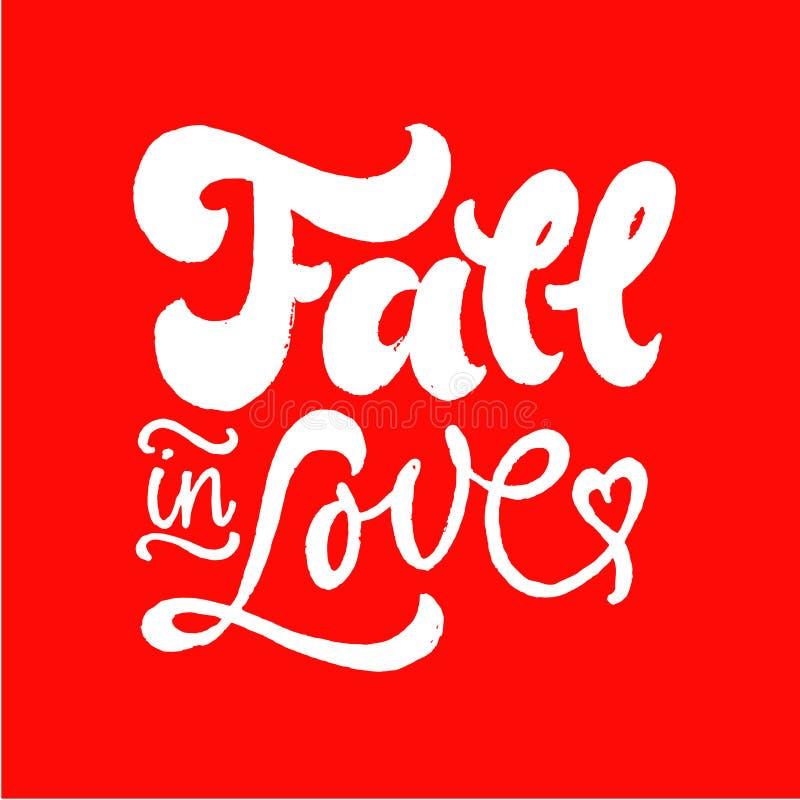 坠入爱河字法 刷子笔手拉的书法 红色白色 日s华伦泰 浪漫行情 向量例证