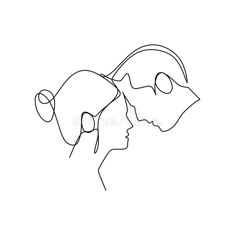 坠入爱河的人们 一个愉快浪漫夫妇画象最小设计一个实线艺术图画传染媒介例证 向量例证