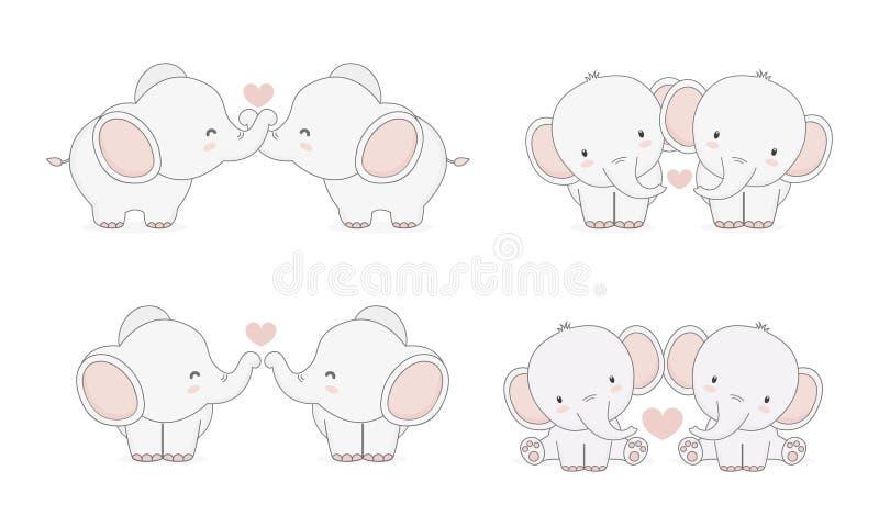 坠入爱河的大象 皇族释放例证