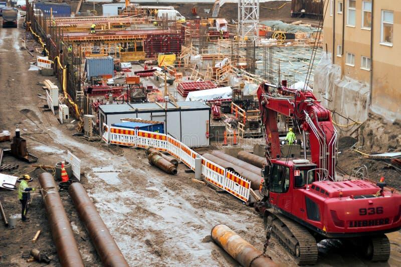 坦佩雷甲板和竞技场项目工地工作 库存照片