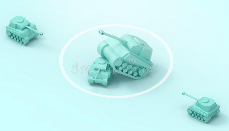 坦克争斗和军事、战士和力量想法和力量领导人概念现代美术和当代在绿色 皇族释放例证