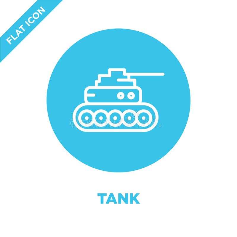 坦克从军事收藏的象传染媒介 稀薄的线坦克概述象传染媒介例证 线性标志为在网的使用和 皇族释放例证