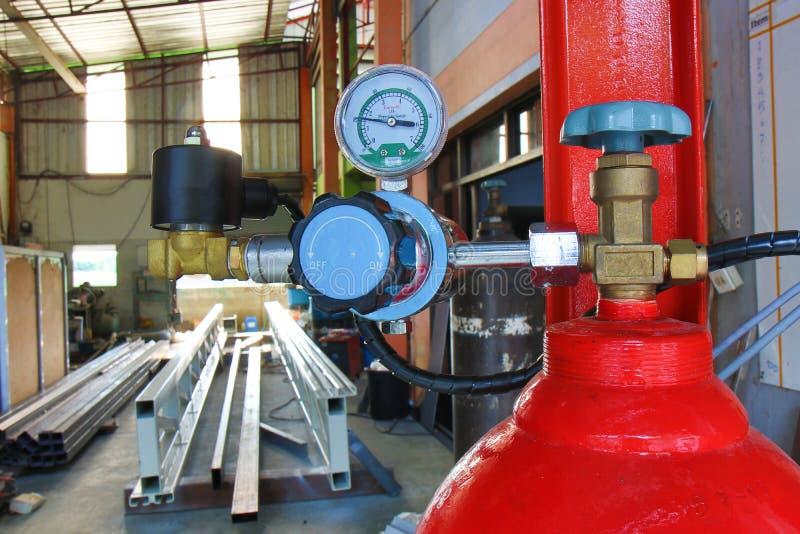 坦克和pressureregulator测量仪集合 免版税图库摄影