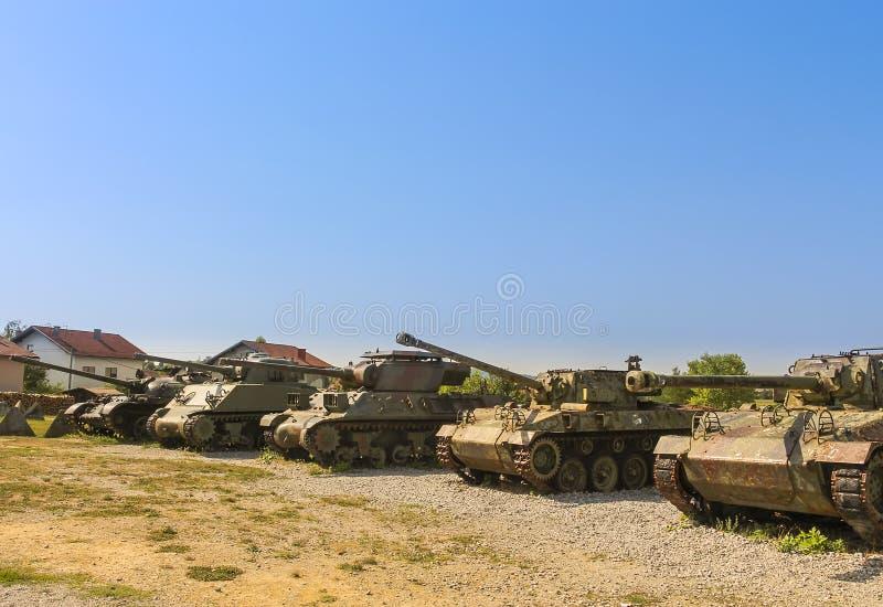 坦克在军队汇集博物馆从克罗地亚家园战争的显示 免版税库存图片