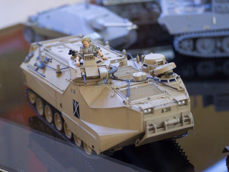 坦克塔米亚普遍的日本品牌玩具比例模型塑料缩样  免版税库存图片