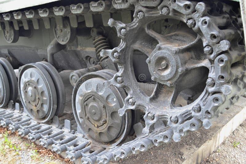 坦克模块,与停止的毛虫底盘 免版税库存照片