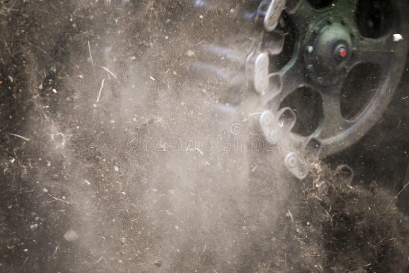 坦克毛虫轨道特写镜头 库存图片