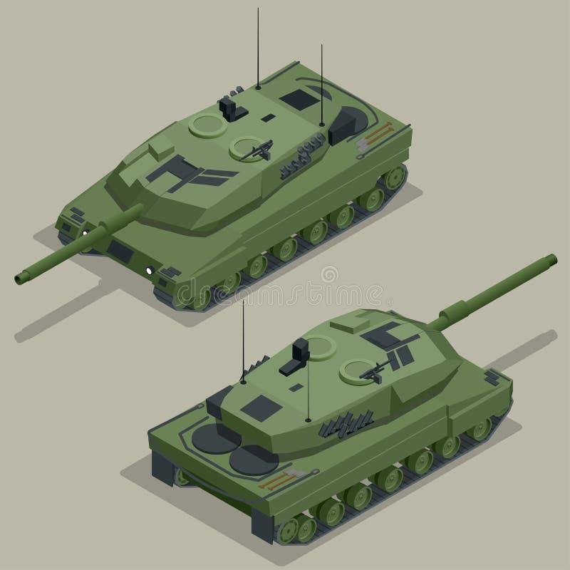 坦克的平的3d等量例证 军用运输 军事坦克 等量军事的坦克 军事坦克 库存例证
