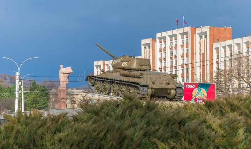坦克纪念碑在蒂拉斯波尔,摩尔多瓦 免版税库存照片