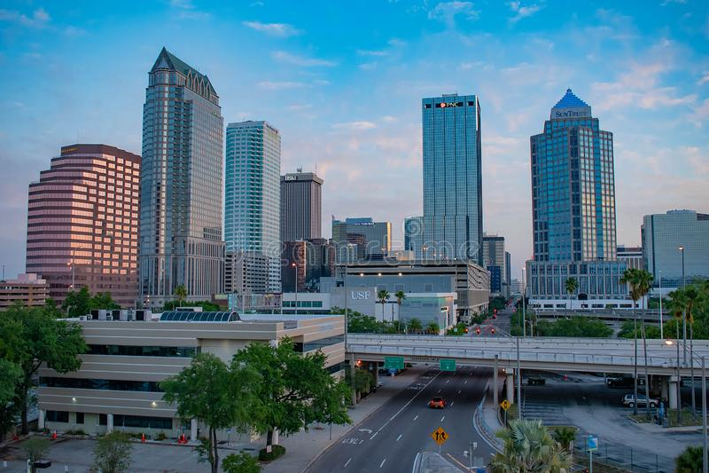 坦帕街市鸟瞰图日出背景的1 库存照片
